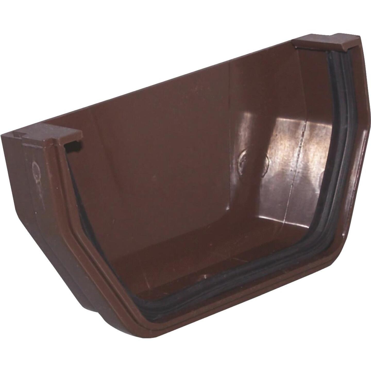 Raingo 5 In. Vinyl Brown Outside Gutter End Cap Image 1