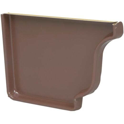 Spectra Metals 5 In. Aluminum Brown Left Gutter End Cap