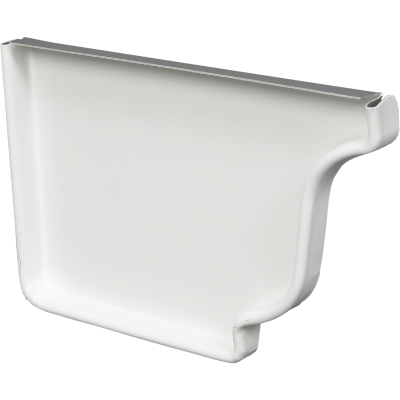 Spectra Metals 5 In. Aluminum White Left Gutter End Cap
