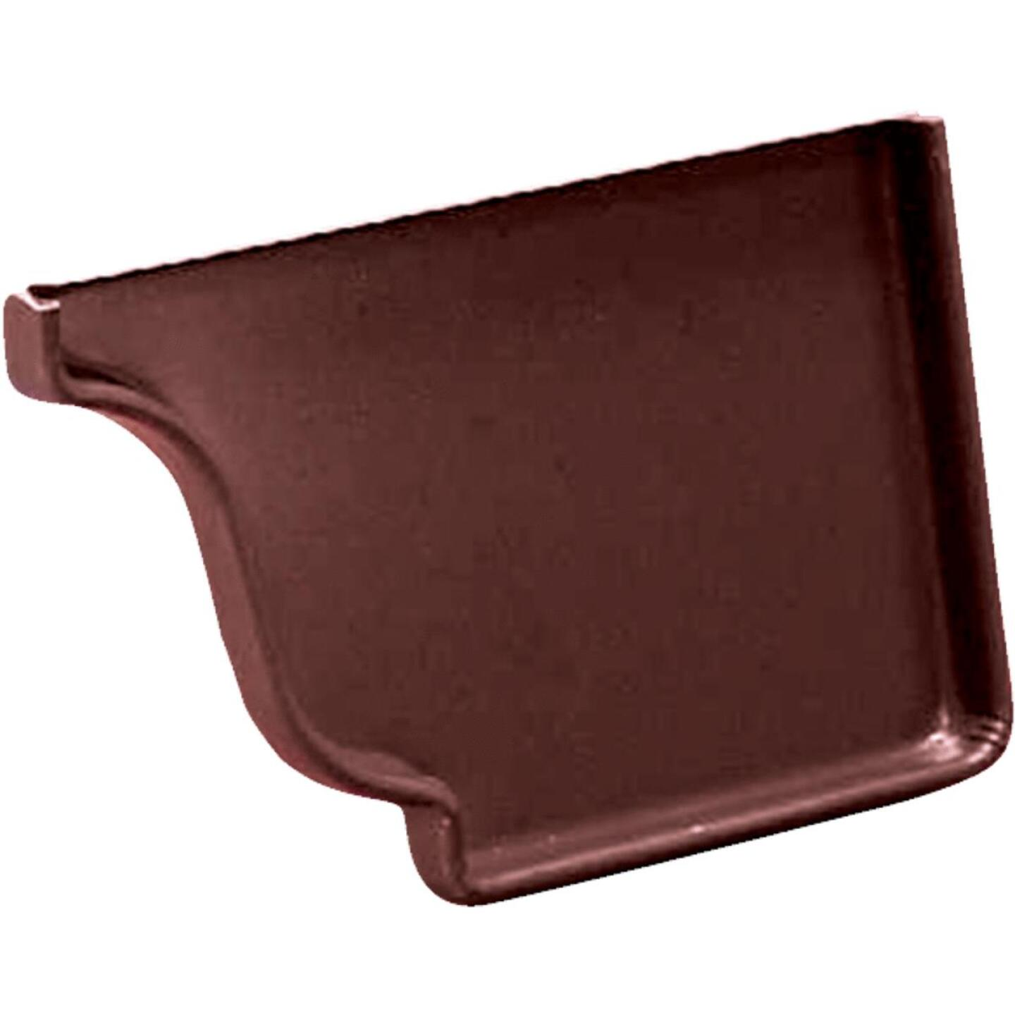 Amerimax 5 In. Galvanized Brown Right Gutter End Cap Image 1