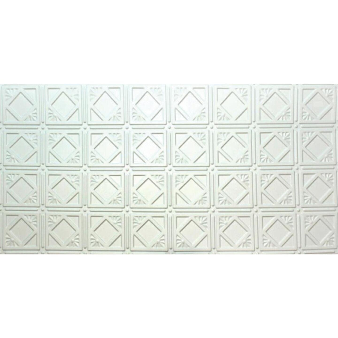 Dimensions 2 Ft. x 4 Ft. White 6 In. Diamond Pattern Tin Look Nonsuspended Ceiling Tile & Backsplash Image 1