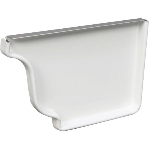 Amerimax 4 In. Galvanized White Right Gutter End Cap