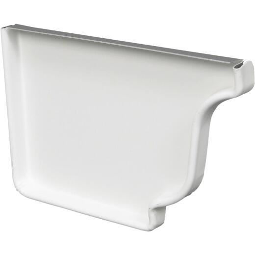 Amerimax 4 In. Galvanized White Left Gutter End Cap