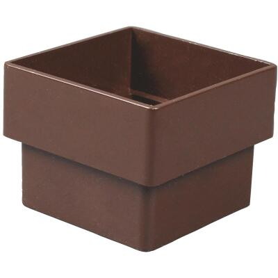 Amerimax 2 In. Contemporary Square Brown Vinyl Downspout Connector