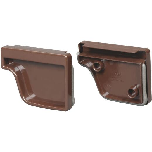 Amerimax 5 In. Traditional K-Style Brown Vinyl Gutter End Cap, Pair