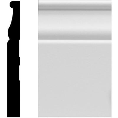 House of Fara 1/2 In. W. x 4-1/4 In. H. x 8 Ft. L. White MDF Colonial Base Molding