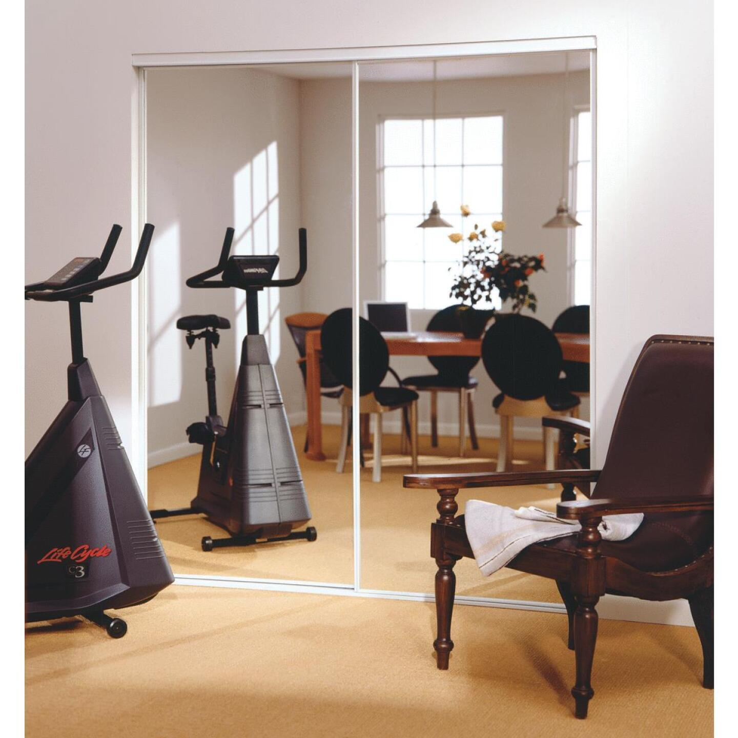 Erias 4260 Series 71 In. W. x 80-1/2 In. H. Bright White Bottom Roll Mirrored Bypass Door Image 1