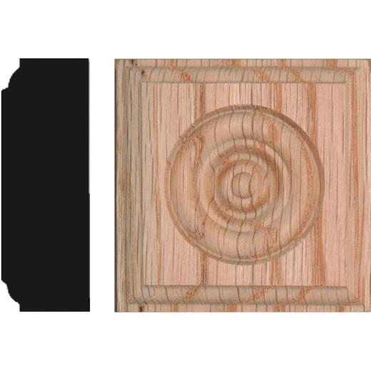 House of Fara 7/8 In. x 2-1/2 In. Unfinished Red Oak Rosette Block