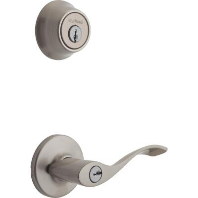 Kwikset Balboa Satin Nickel Deadbolt and Lever Combo