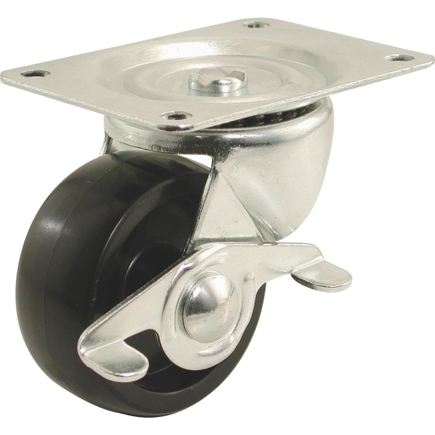 Shepherd 2 In. General-Duty Polypropylene Swivel Plate Caster with Brake Image 1
