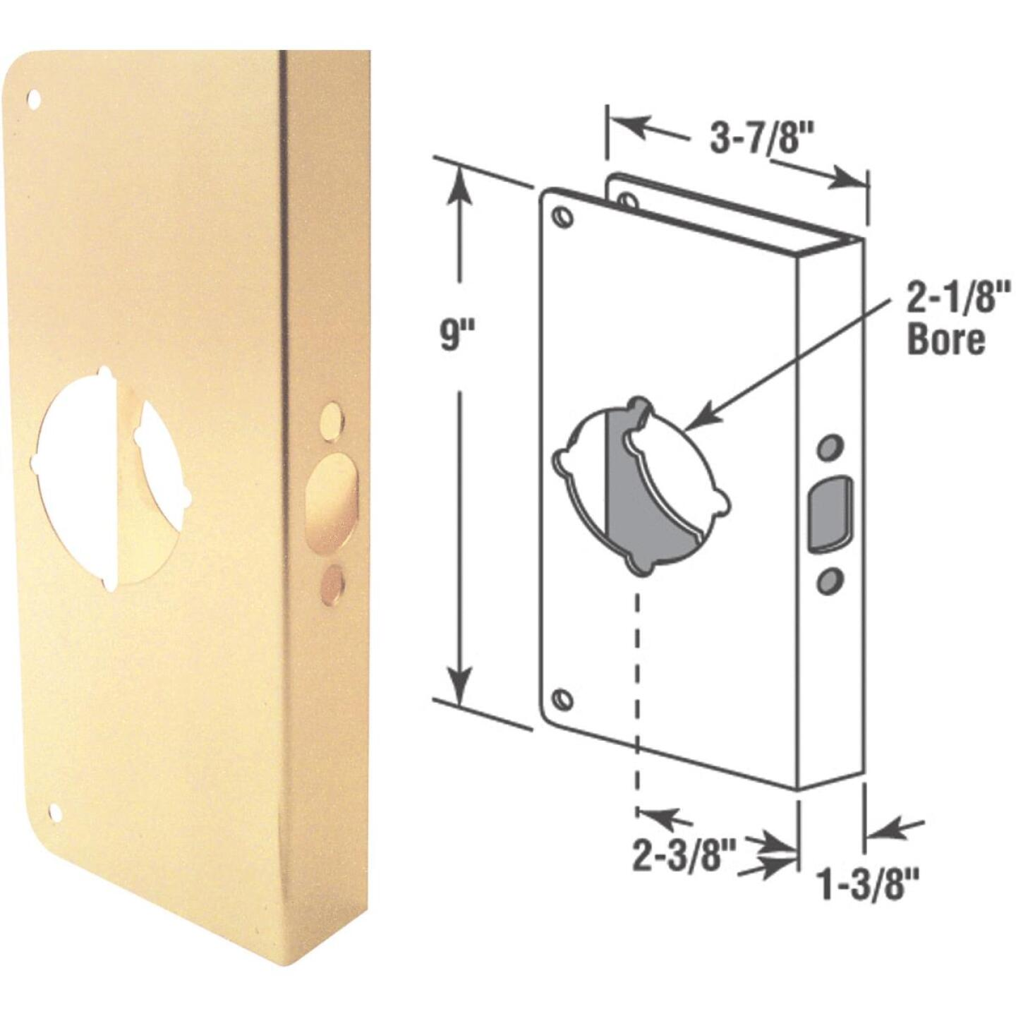 Defender Security 1-3/8 In. x 2-3/8 In. Brass Door Reinforcer Image 1