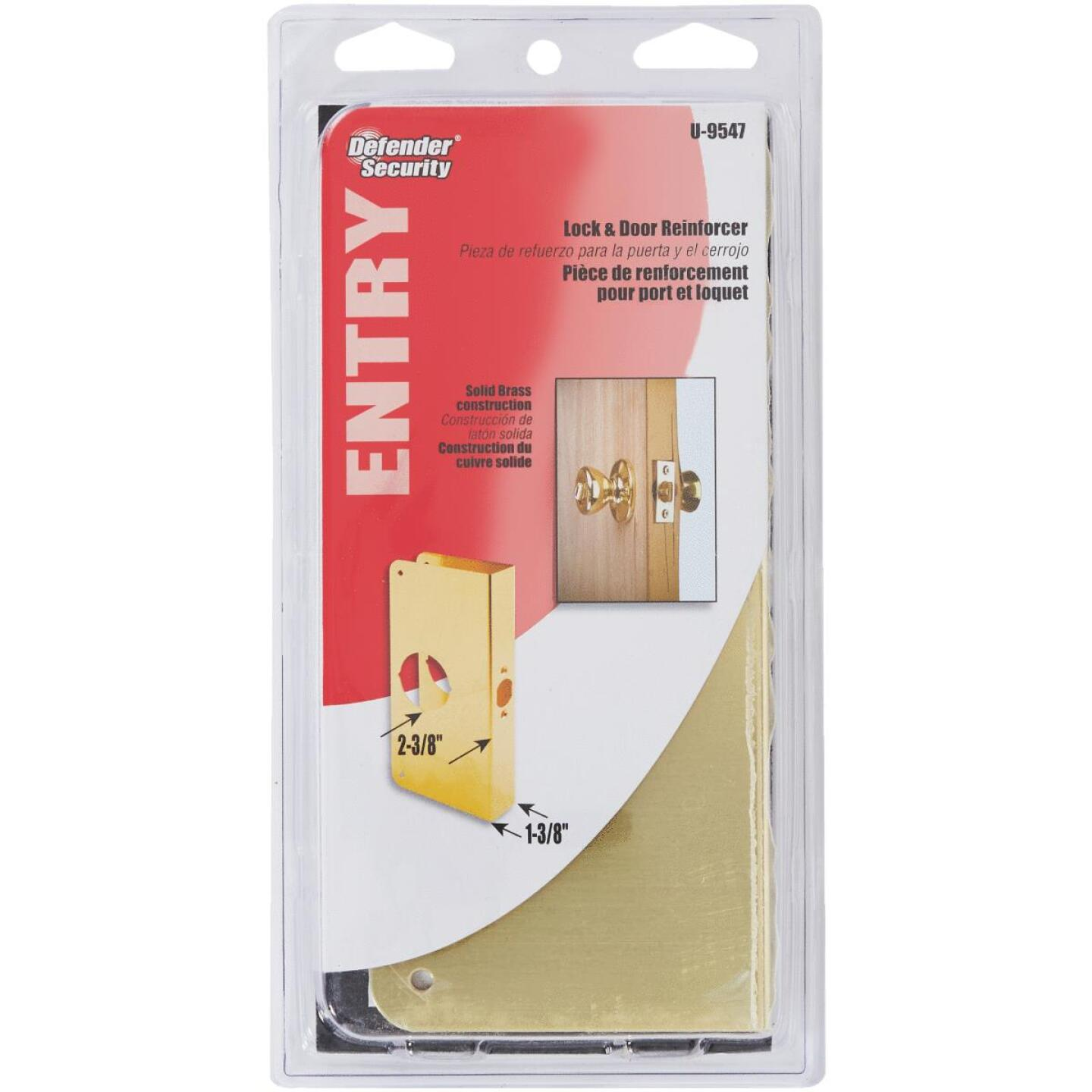 Defender Security 1-3/8 In. x 2-3/8 In. Brass Door Reinforcer Image 3