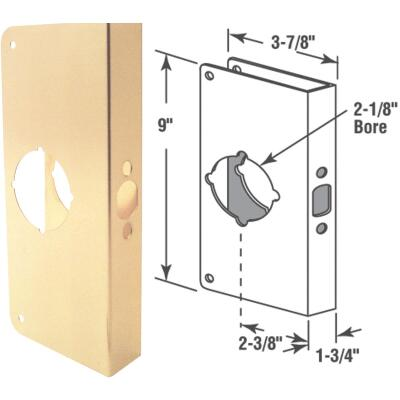 Defender Security 1-3/4 In. x 2-3/8 In. Brass Door Reinforcer