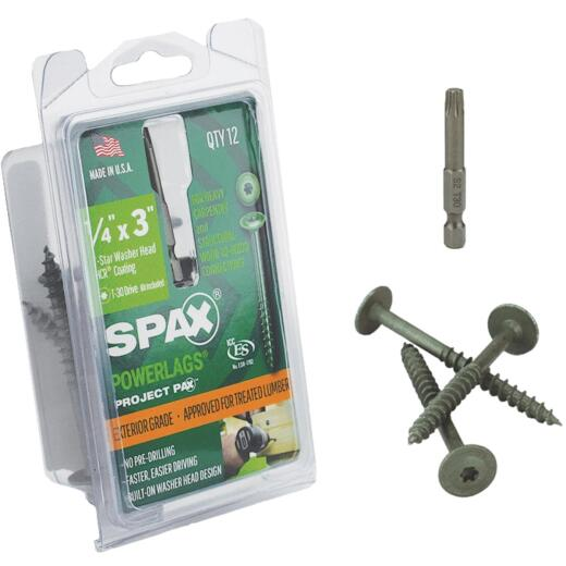 Spax PowerLags 1/4 In. x 3 In. Washer Head Exterior Structure Screw (12 Ct.)
