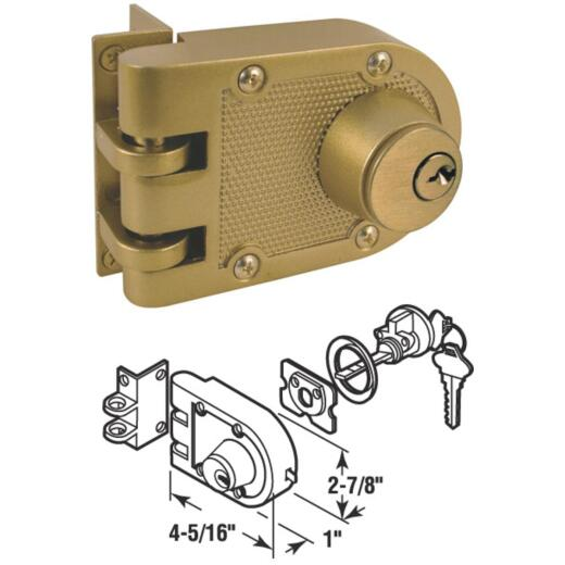 Defender Security Brass Double Cylinder Single Rim Deadlock, Jimmy-Resistant