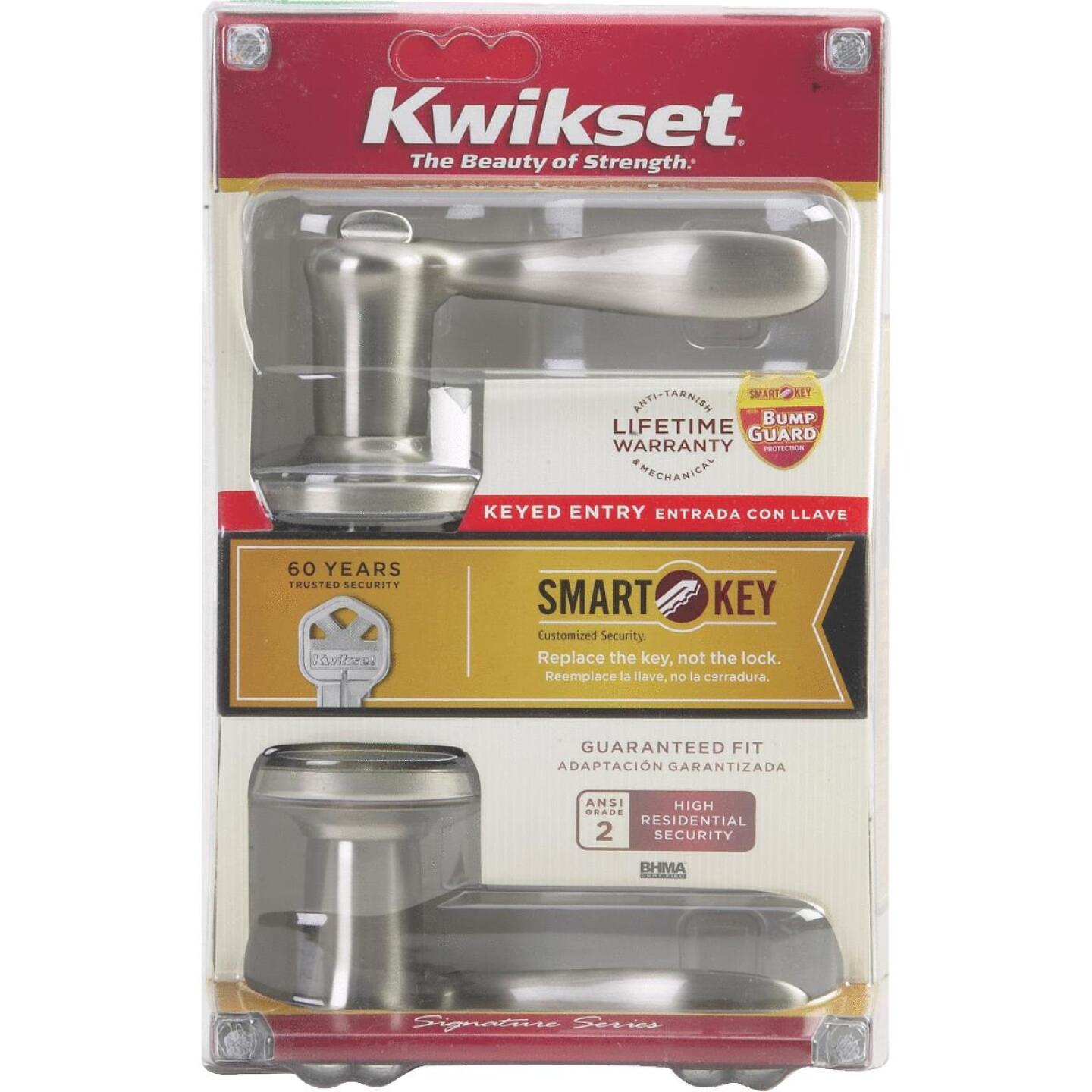 Kwikset Signature Series Satin Nickel Tustin Entry Door Lever with Smartkey Image 5