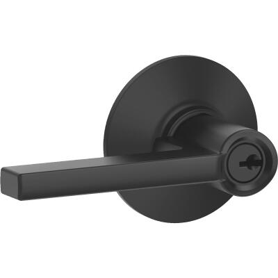 Schlage Latitude Matte Black Keyed Entry Door Lever