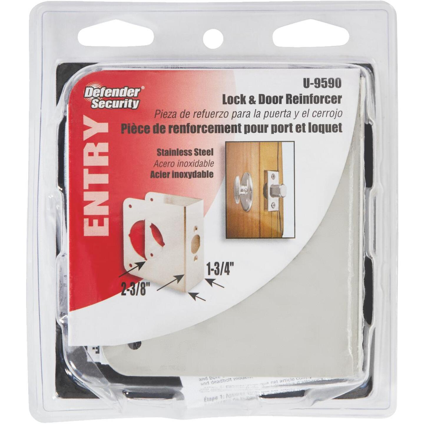 Defender Security Stainless Steel 1-3/4 In. Thick Lock & Door Reinforcer Image 2