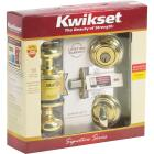 Kwikset Signature Series Polished Brass Deadbolt and Door Knob Combo Image 2