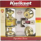 Kwikset Signature Series Polished Brass Deadbolt and Door Knob Combo Image 3