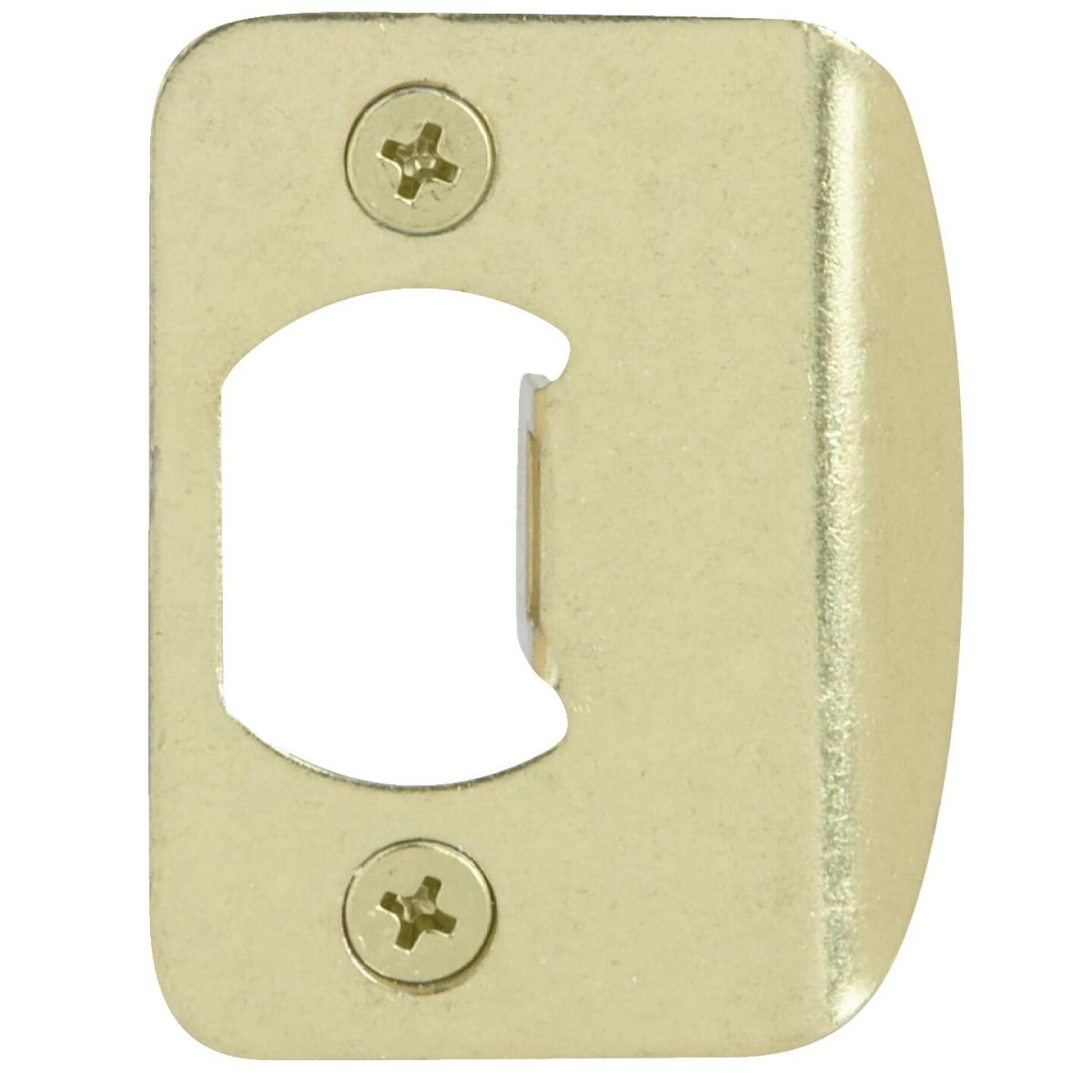Kwikset Polished Brass Radius Strike Plate Image 1