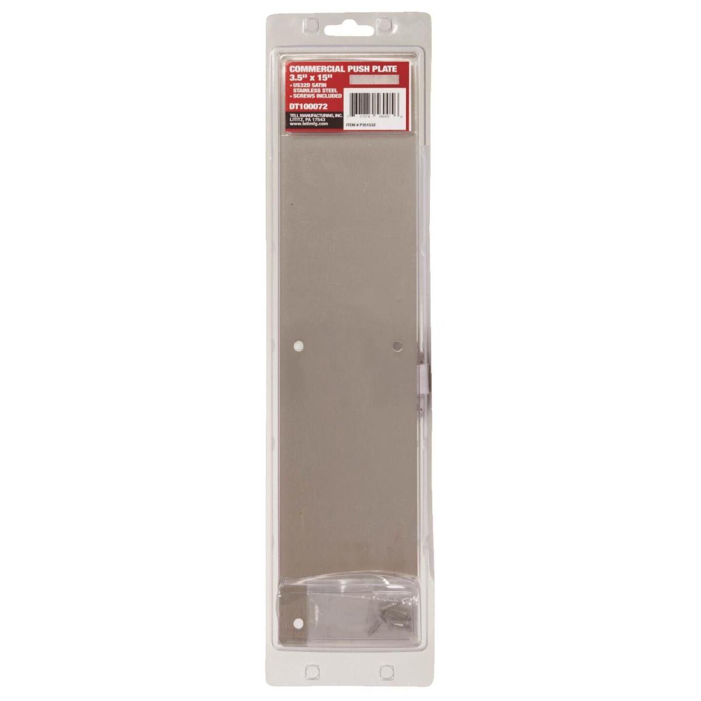 Tell 3.5 In. x 15 In. Stainless Steel Push Plate Image 2