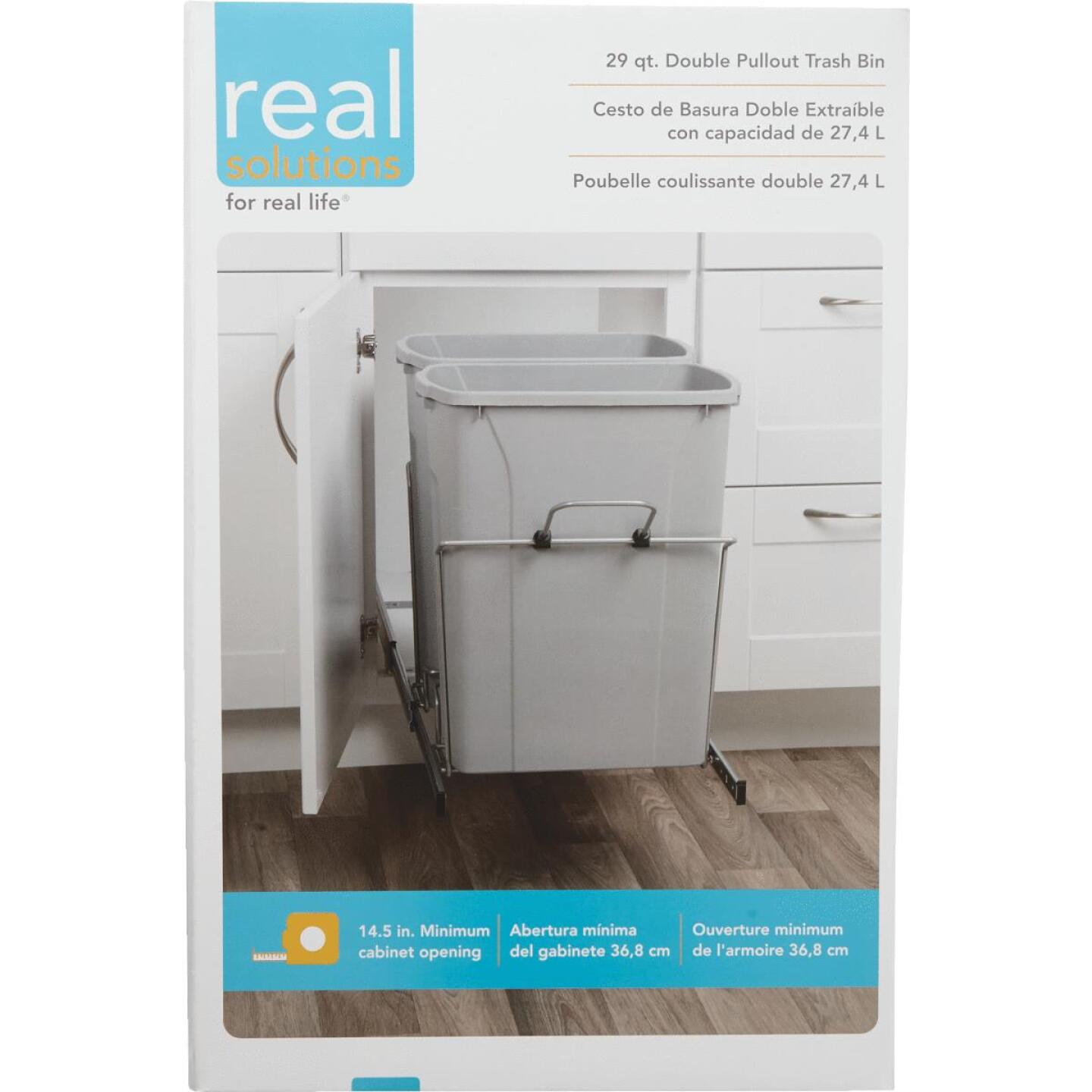 Knape & Vogt Real Solutions 29 Qt. In-Cabinet Double Pull Out Bottom Mount Trash Can Image 2