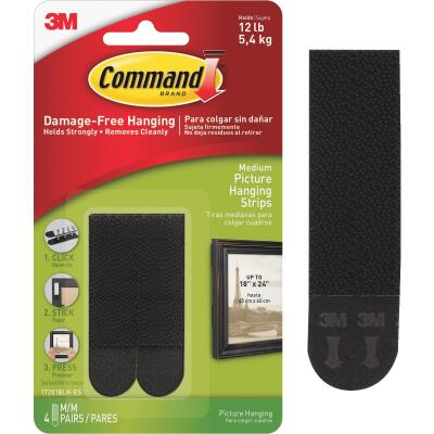Command 3/4 In. x 2-3/4 In. Black Interlocking Picture Hanger (4 Count)