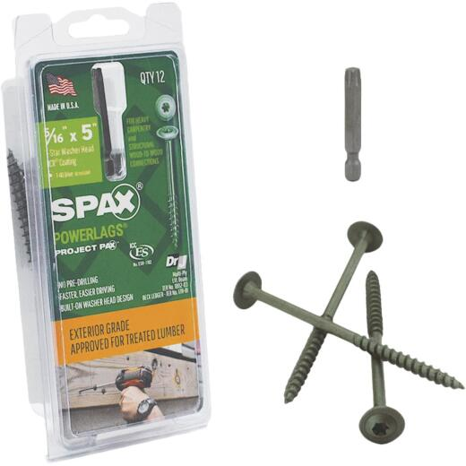 Spax PowerLags 5/16 In. x 5 In. Washer Head Exterior Structure Screw (12 Ct.)