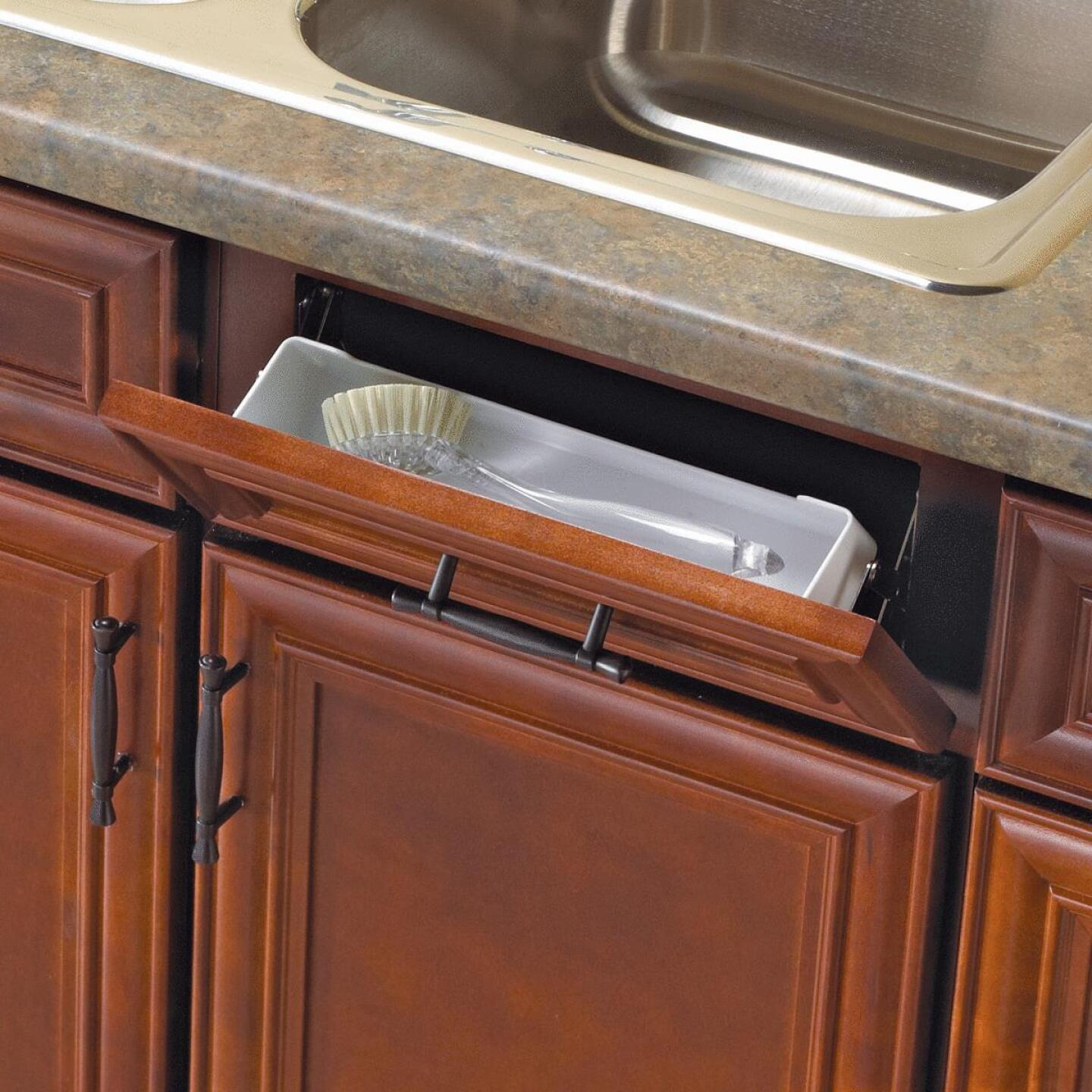 Knape & Vogt Real Solutions 11 In. White Steel In-Cabinet Sink Front Tray & Hinge Kit Image 4