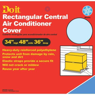 """Do it 48"""" x 34"""" x 36"""" Gray Polyethylene 9 mil Rectangular Central Air Conditioner Cover"""