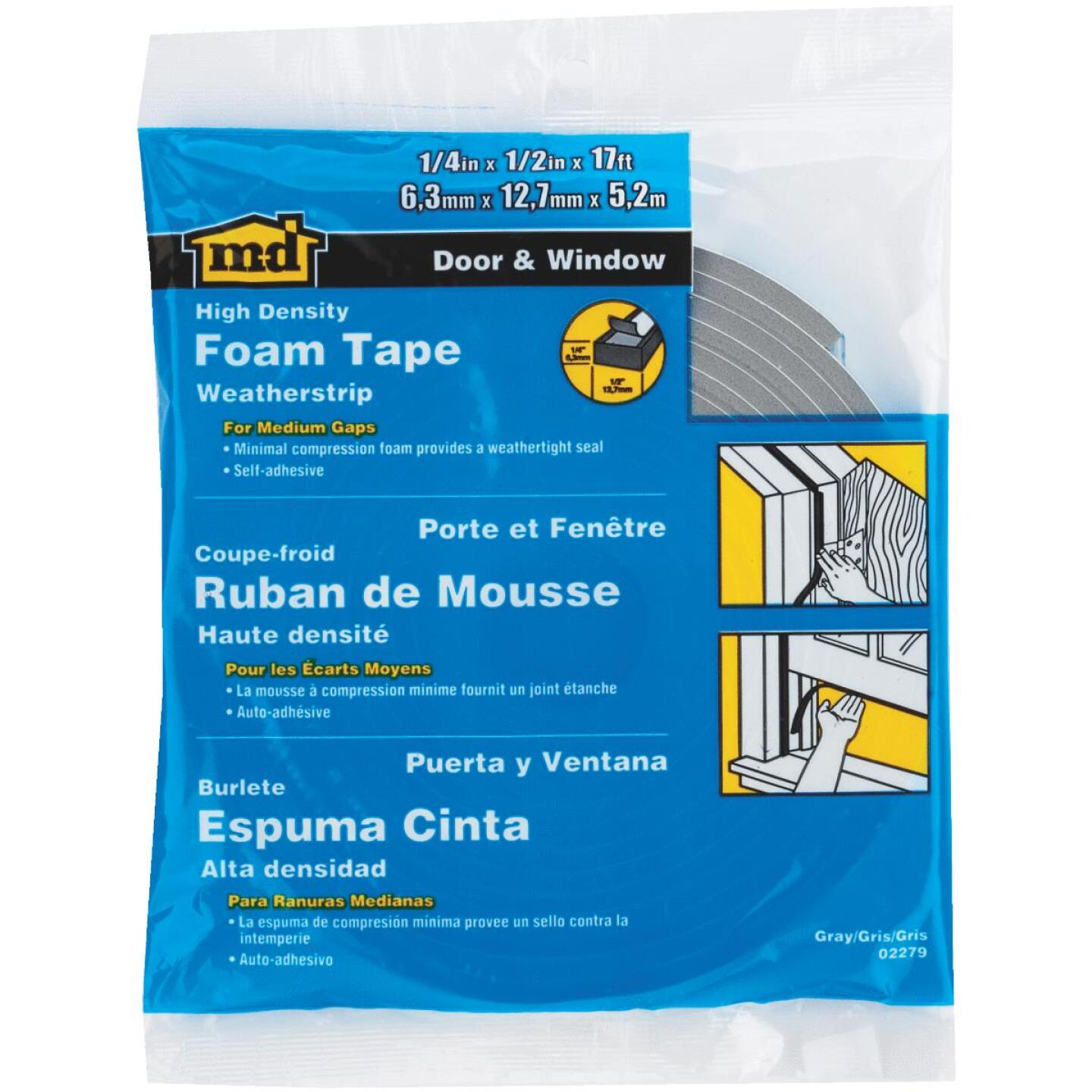"M-D 1/2"" W x 1/4"" T x 17' L Gray Foam Closed Cell Weatherstrip Tape Image 1"