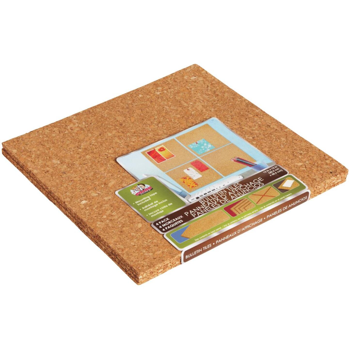 Board Dudes 12 In. x 12 In. Light Cork Tiles (4 Count) Image 1