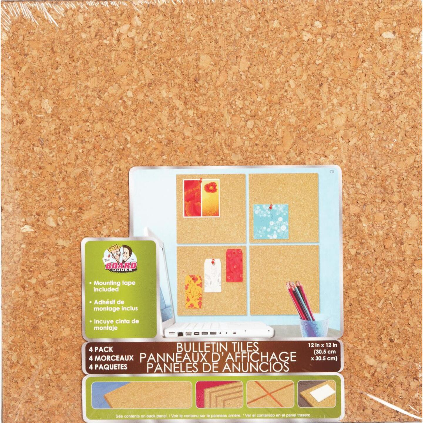 Board Dudes 12 In. x 12 In. Light Cork Tiles (4 Count) Image 2