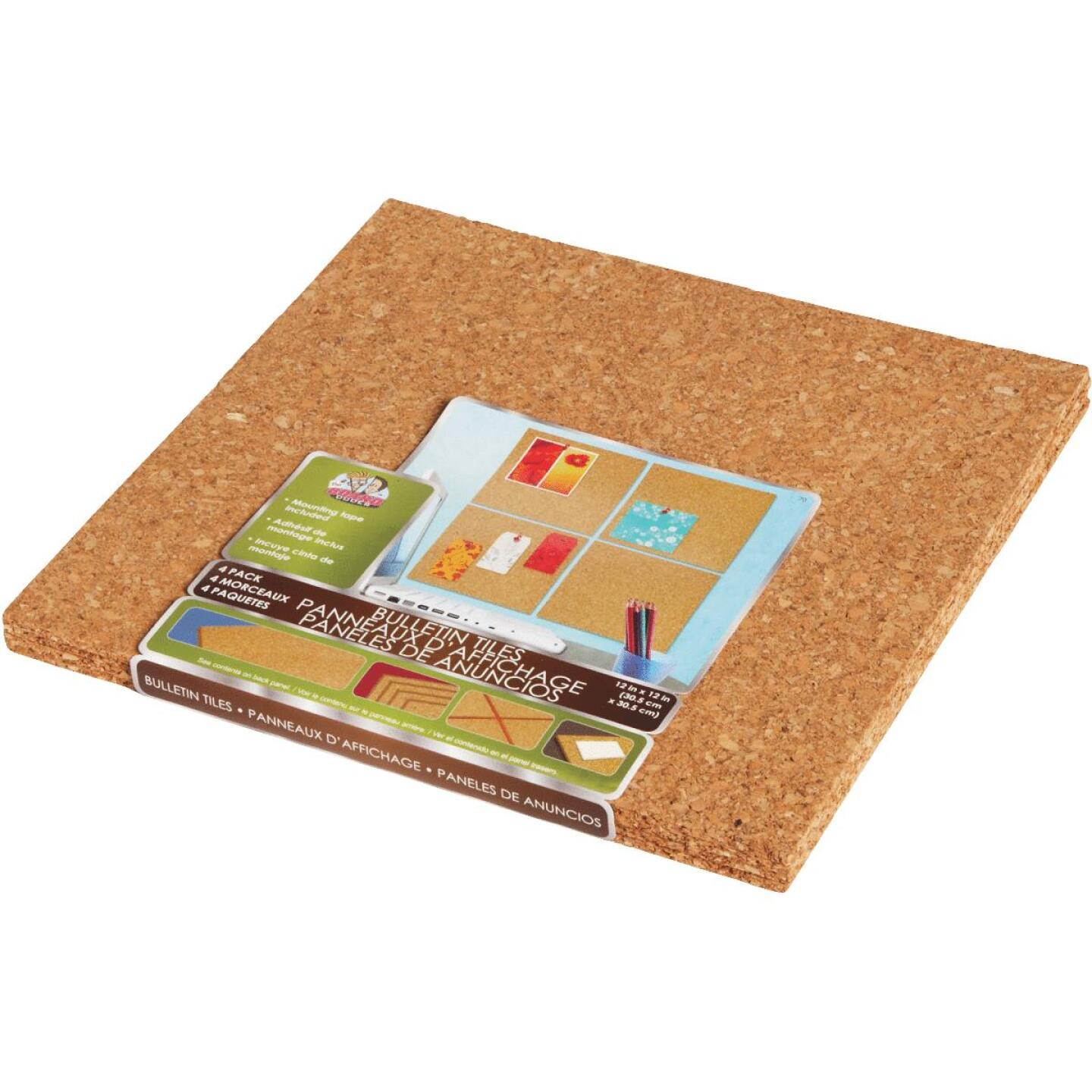 Board Dudes 12 In. x 12 In. Light Cork Tiles (4 Count) Image 3