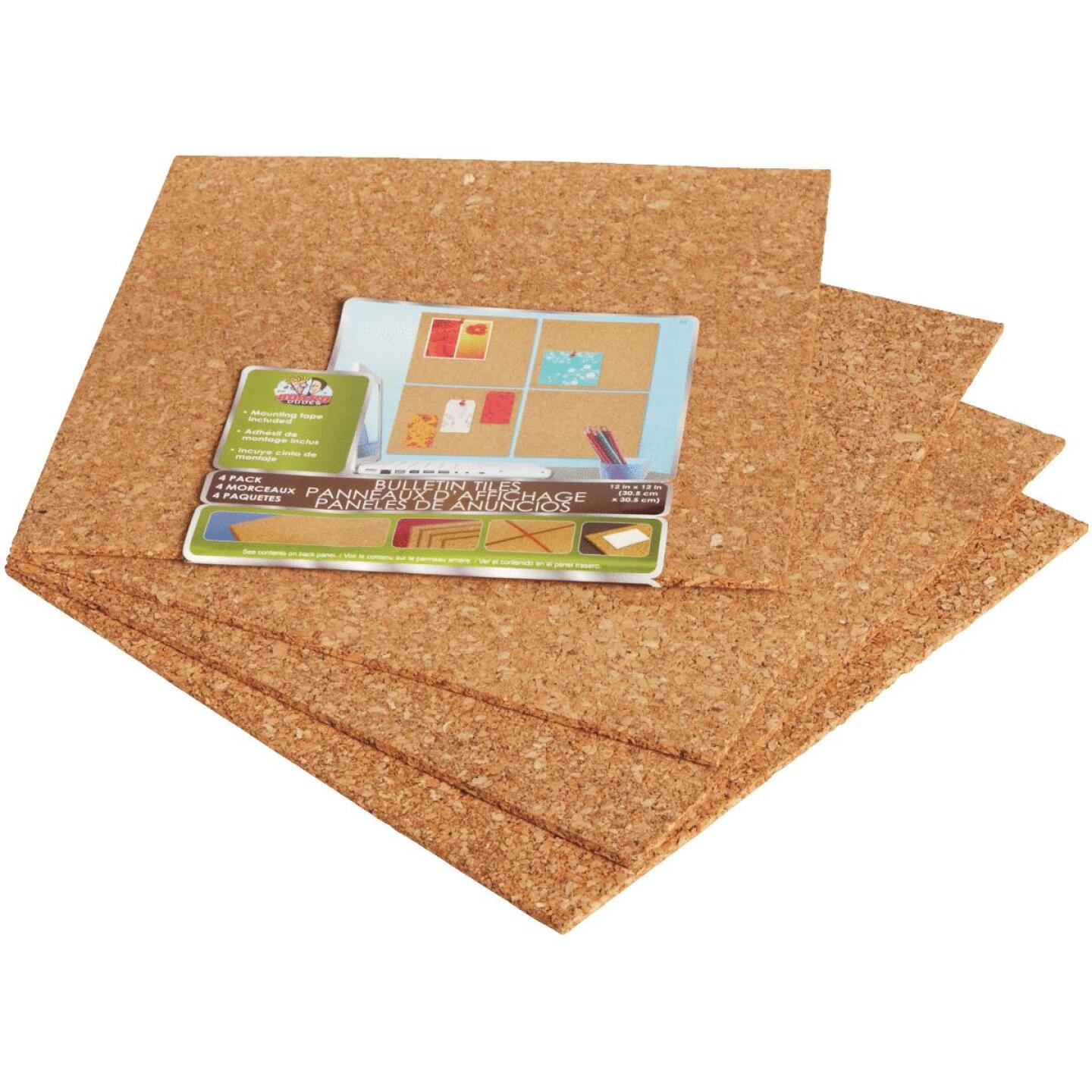 Board Dudes 12 In. x 12 In. Light Cork Tiles (4 Count) Image 4