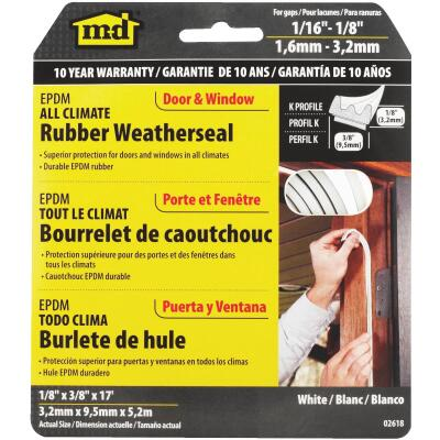"M-D Brown 17' 3/8""  Extreme Temp Small Gap Rubber Weatherstrip, White"