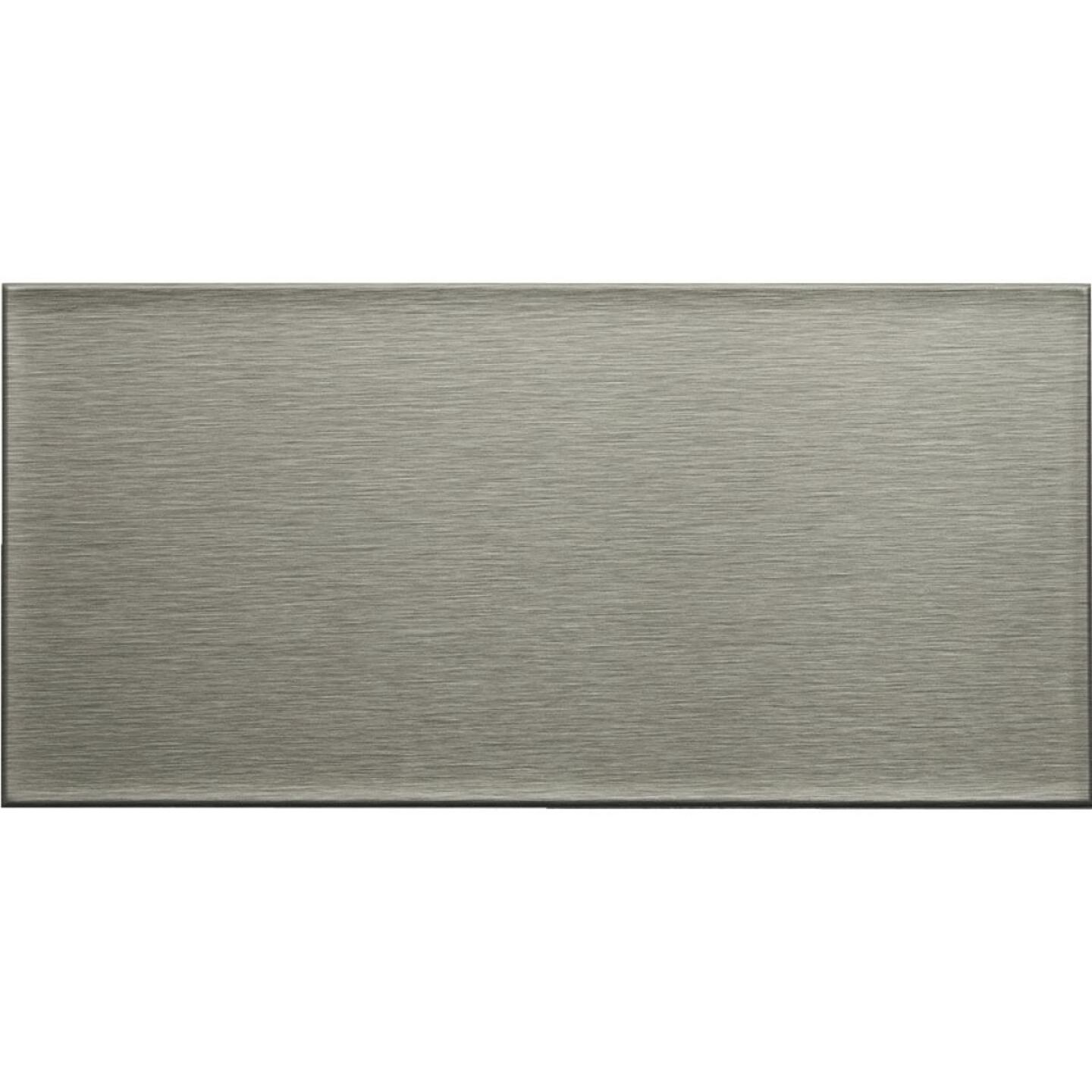 Aspect 3 In. x 6 In. Aluminum Backsplash Peel & Stick, Long Grain Stainless (8-Pack)  Image 1