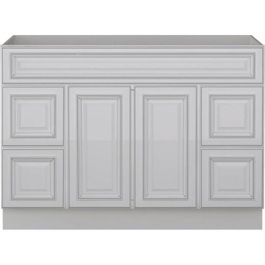 Sunny Wood Riley White with Dover Glaze 48 In. W x 34-1/2 In. H x 21 In. D Vanity Base, 2 Door/4 Drawer