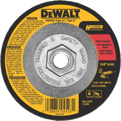 DeWalt HP Type 27 4-1 In. x 1/4 In. x 5/8 In.-11 Metal Grinding Cut-Off Wheel