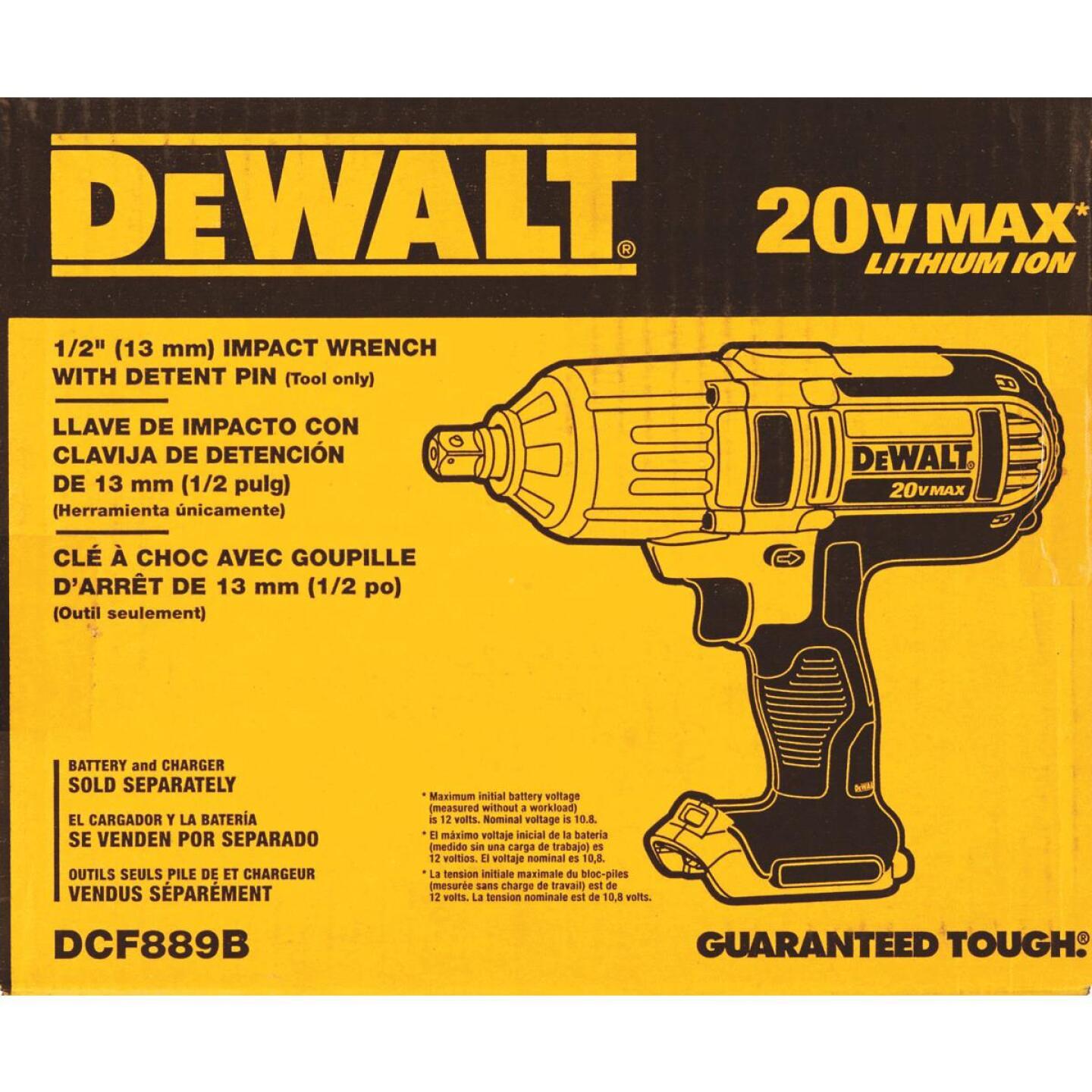DeWalt 20 Volt MAX Lithium-Ion 1/2 In. High Torque Cordless Impact Wrench (Bare Tool) Image 2