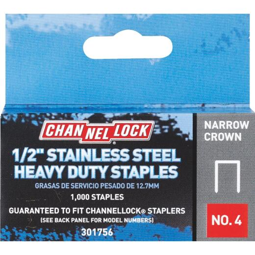 Channellock No. 4 Narrow Crown Stainless Steel Staple, 1/2 In. (1000-Pack)