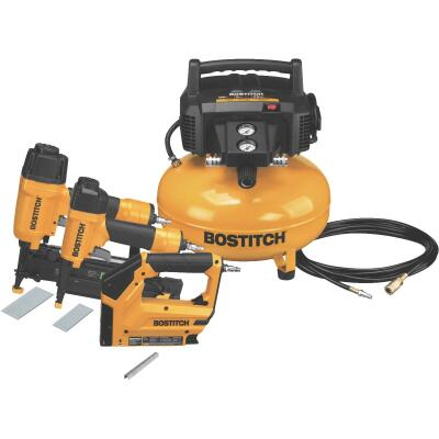 Bostitch 16-Gauge 2-1/2 In. Finish Nailer, 18-Gauge 2 In. Brad Nailer and 6-Gallon Pancake Compressor Combo Kit