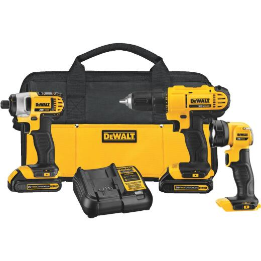 DeWalt 3-Tool 20V MAX Lithium-Ion Drill/Driver, Impact Driver & Work Light Cordless Tool Combo Kit