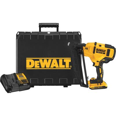 DeWalt 20 Volt MAX XR Lithium-Ion 16-Gauge 2-1/2 In. Angled Cordless Finish Nailer Kit