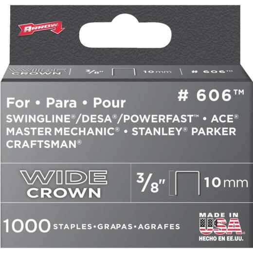 Arrow Heavy-Duty Wide Crown Staple, 3/8 In. (1000-Pack)
