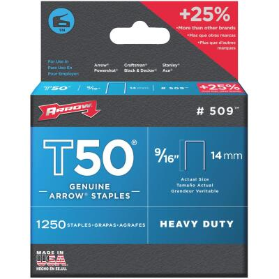 Arrow T50 Heavy-Duty Staple, 9/16 In. (1250-Pack)