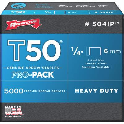 Arrow T50 Pro-Pack Heavy-Duty Staple, 1/4 In. (5000-Pack)