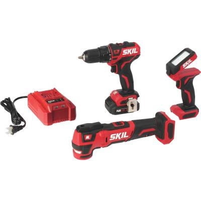 SKIL 3-Tool PWRCore 12 Volt Lithium-Ion Brushless Drill/Driver, Multi-Tool & Area Light Cordless Tool Combo Kit