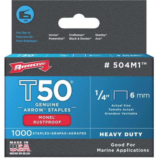 Arrow T50 Heavy-Duty Monel Staple, 1/4 In. (1000-Pack)